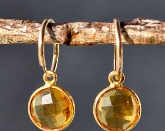 SALE Citrine Earrings - November Birthstone - Citrine Jewelry - Hoop Errings