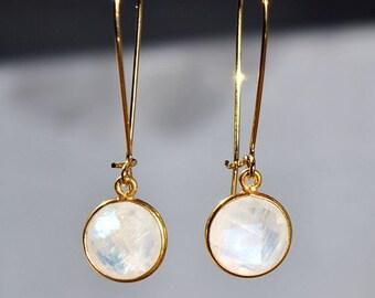 SALE Rainbow Moonstone Earrings - June Birthstone Jewelry - Birthstone Earrings