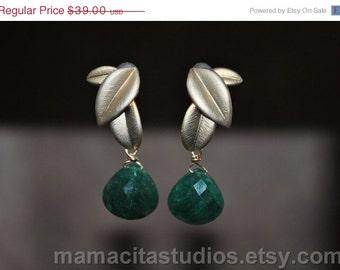 SALE Emerald Earrings - May Birthstone Earrings - Emerald Jewelry