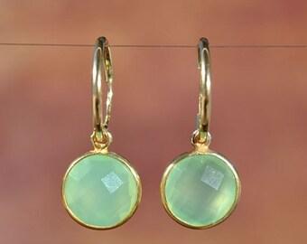 SALE Green Chalcedony Gold Hoop Earrings