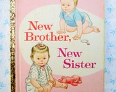 "Vintage New Brother, New Sister, Rare 1966 A Little Golden Book, ""A"" First edition Collectible Children's Book"