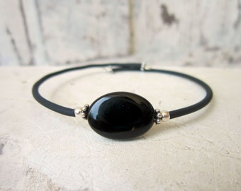 Black Onyx Bracelet. Onyx Cuff Bracelet. Slip on Black Bracelet.Black Onyx Jewelry.Black Jewelry.Black Cuff Bracelet.Layering Bracelet