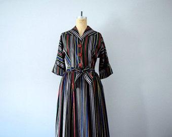 Vintage ribbon stripe dress . 40s 50s hostess gown