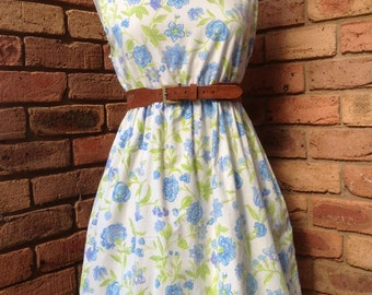 Vintage inspired blue floral tunic dress or tea dress READY to SHIP Size 12-14 AUD