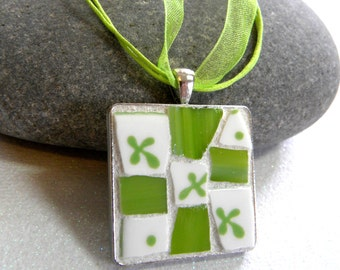 Abstract Clover - LIME GREEN - Mosaic Pendant - Jewelry Necklace - Broken China/Stained Glass