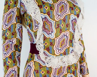 Vintage 1960's 70's The Red Eye PsYcHeDeLiC Knit Crocheted Prairie Edwardian HiPPiE BoHo Dress S