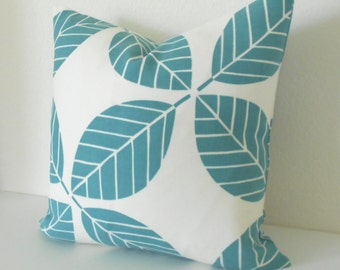 Outdoor turquiose teal blue modern leaf decorative pillow cover