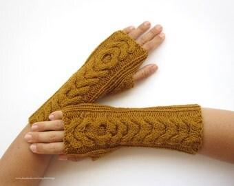 knit mustard arm warmers wrist warmers hand knit mittens fingerless gloves wool blend
