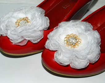 White chiffon shoe clips, bridal party,