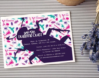 Instant Download - Girl - Bugging Out - Creepy Crawlies - Birthday, Shower, Party Invitation, Custom Printable