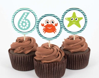 Instant Download - Under the Sea - Birthday, Party - 10 DIY, Printable Cupcake Toppers