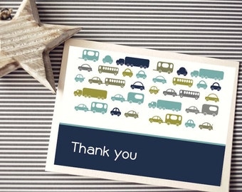 Instant Download -  Cars Greeting/Thank you Cards, Custom Printable