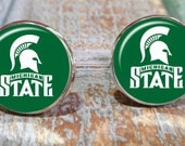 Sporty gift, Groomsmen gift Michigan State Spartans inspired,  groomsmen gifts, college logo cufflinks, tie clip gift, Michigan State gift