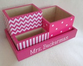 Personalized Desk Organizer - Office or Home Organizer - Pencil Holder Set - Pink Chevron,  Polka Dot, Pink Stripe- Decoupaged - Gift