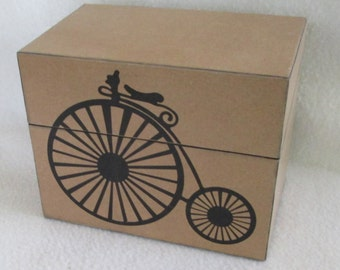 Black Bicycle on Kraft Recipe Box - Old Timey - Kraft Wood Recipe Box - For 4x6 Recipe Cards - Shower Gift