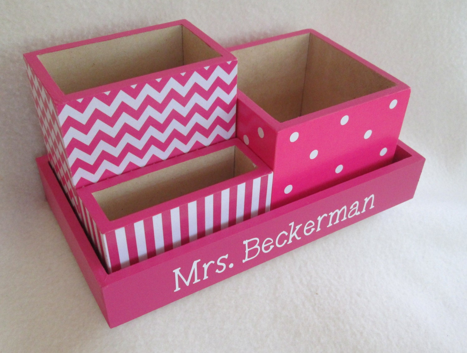 Personalized desk organizer office or home organizer - Pink desk organizer ...