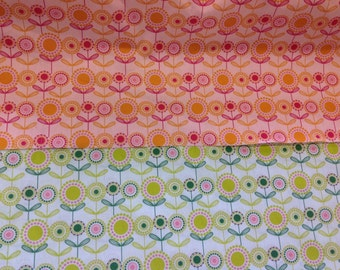 Casadeco 100% cotton craft fabric floral lola by the metre in pink and green