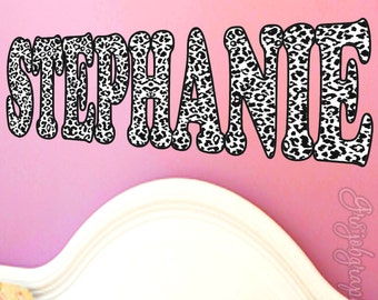 Personalized Name White Leopard Print Sticker Wall Decals Choose Color  Choose Name LN2 Part 69