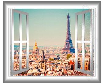 3D Window Wall Decal Eiffel Tower Paris  Home Decor France 3D Wall Decals Window Frame GJ13