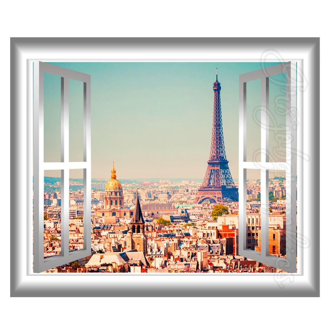 A Paris Apartment And A Paris Graphic: 3D Window Wall Decal Eiffel Tower Paris Home Decor France 3D