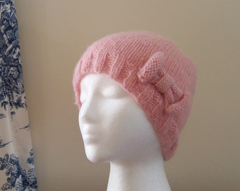 Cancer Patient Gift, Pink Beanie Chemo Hat, Hypoallergenic Baby Alpaca Yarn for Women it is Ready to Ship