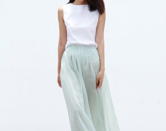 On Sale Size M Fairy Casual Chiffon Wide leg Long Skirt Pants  in Mint - NC460-4