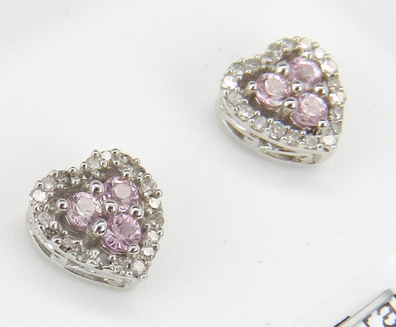 Pink Sapphire and Diamond Heart Stud Earrings Halo Studs Earring 14K White Gold