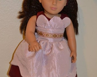 Lovely Burgundy and pink dressy petal dress, shoes and headband for your 18 inch doll