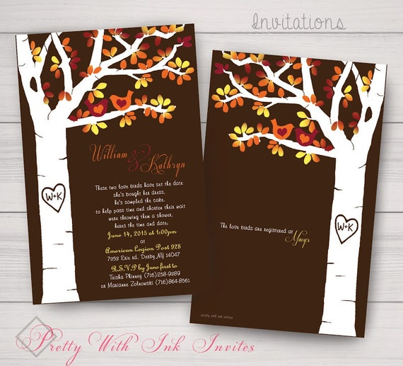 Fall Wedding, Engagement, Shower, Announcements, Invitations. Tree, Autumn, Lovebirds, Owls, Brown, Orange, Red. Printed/DIY/Samples avail