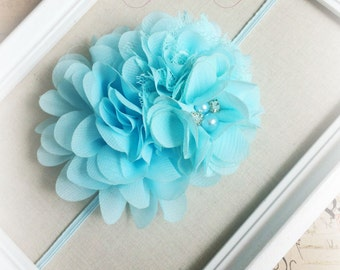 AQUA Headband,  Multi FLOWER Headband, Chiffon Flower Headband, Baby Girl Headband, Infant Headband, Soft Headband