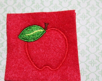 Apple feltie with leaf, stitched on red felt, set of four for hair accessories, scrapbooking, and crafts