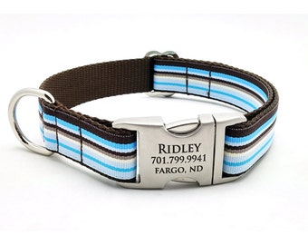 Sand n Sea Stripe Dog Collar with Laser Engraved Personalized Buckle