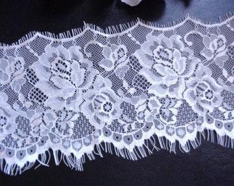 3  yard piece white eyelash lace 4.5 inch wide