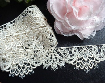 1 1/2 inch wide beige/cream lace trim select length