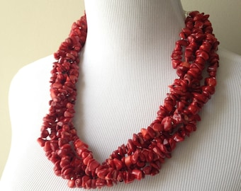 Red Bamboo Coral Multi strand Necklace - Red Colored Coral Statement Necklace - Beach Collection