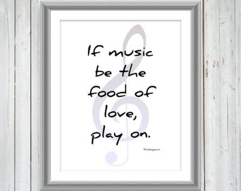 Shakespeare Quote, Music Poster, Inspirational Motivational Print, Wall Art, Gift For Musicians, Dorm Decor, Typography Print, 3 sizes