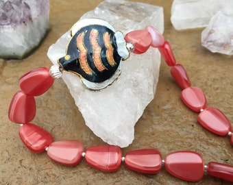 Coral Red Beaded Necklace with Enameled 3D Fish Bead, Sterling Silver Fish Clasp and Beads