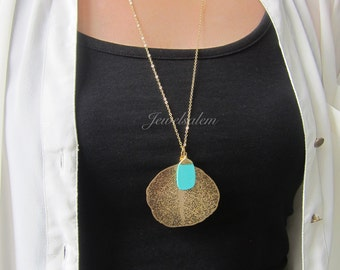 Turquoise Necklace Gold Necklace Leaf Necklace Layered Necklace Elegant Bohemian Simple Modern Jewelry Nature Big Leaf Long Necklace C1