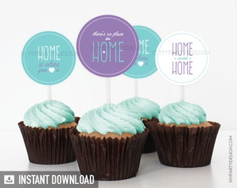 House Warming Party - Cupcake Toppers - Party Circles - Turquoise and Purple - INSTANT DOWNLOAD - Printable PDF