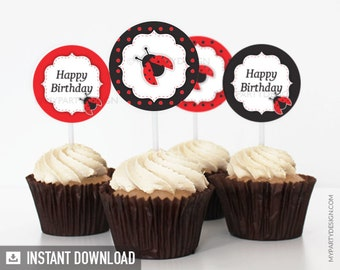 Labybug Party - Cupcake toppers - Party Circles - INSTANT DOWNLOAD - Printable PDF