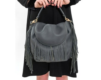 Grey Fringe Leather Bag, Boho chic Womens Handbag Fashion Fine Leather Hobo Bag, Slouchy Carryall Purse, Handmade Everyday Handbag, Sack Bag