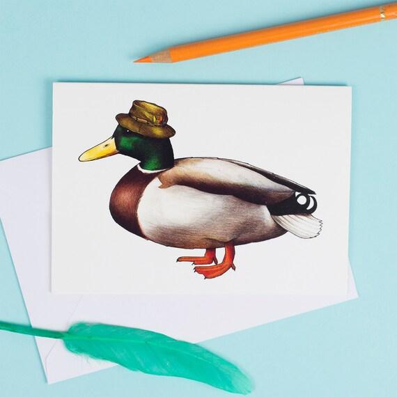 Mallard in a Fisherman's Cap: A6 Birds in Hats Greetings Card