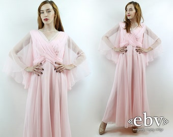 Pink Prom Dress Angel Sleeve Dress Hippie Dress Hippy Dress 70s Party Dress Vintage 70s Pink Miss Elliette Maxi Dress L XL Pink Dress