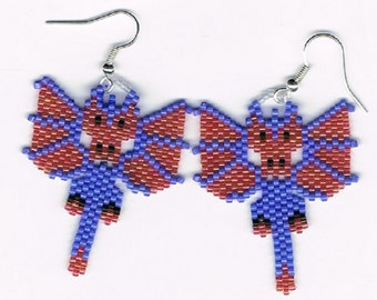 Beautiful Hand Beaded Light Cranberry and Blue Dragon earrings.