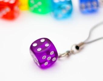 D6 phone charm - purple, dnd, dice, tabletop, board games, geeky charm, nerdy phone charm
