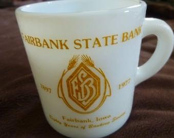 Coffee Mug White Vintage Souvenir Fairbank State Bank 1977