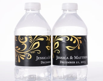 "30 Wedding Water Bottle Labels - Need a different quantity? Click on the ""choose total"" tab to see all pricing"