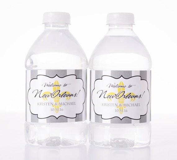 Wedding Decor - 100 Fleur-de-lis Wedding Water Bottle Labels ...