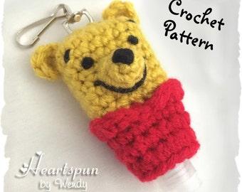 CROCHET PATTERN to make a Winnie the Pooh hand sanitizer Holder, for 1 oz bottles of sanitizer.  Pdf Format, Instant Download.