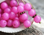 Bright Pink round beads, 6mm spacer beads, Hot pink, Czech glass, druk, pressed beads - 6mm - 30Pc - 0030